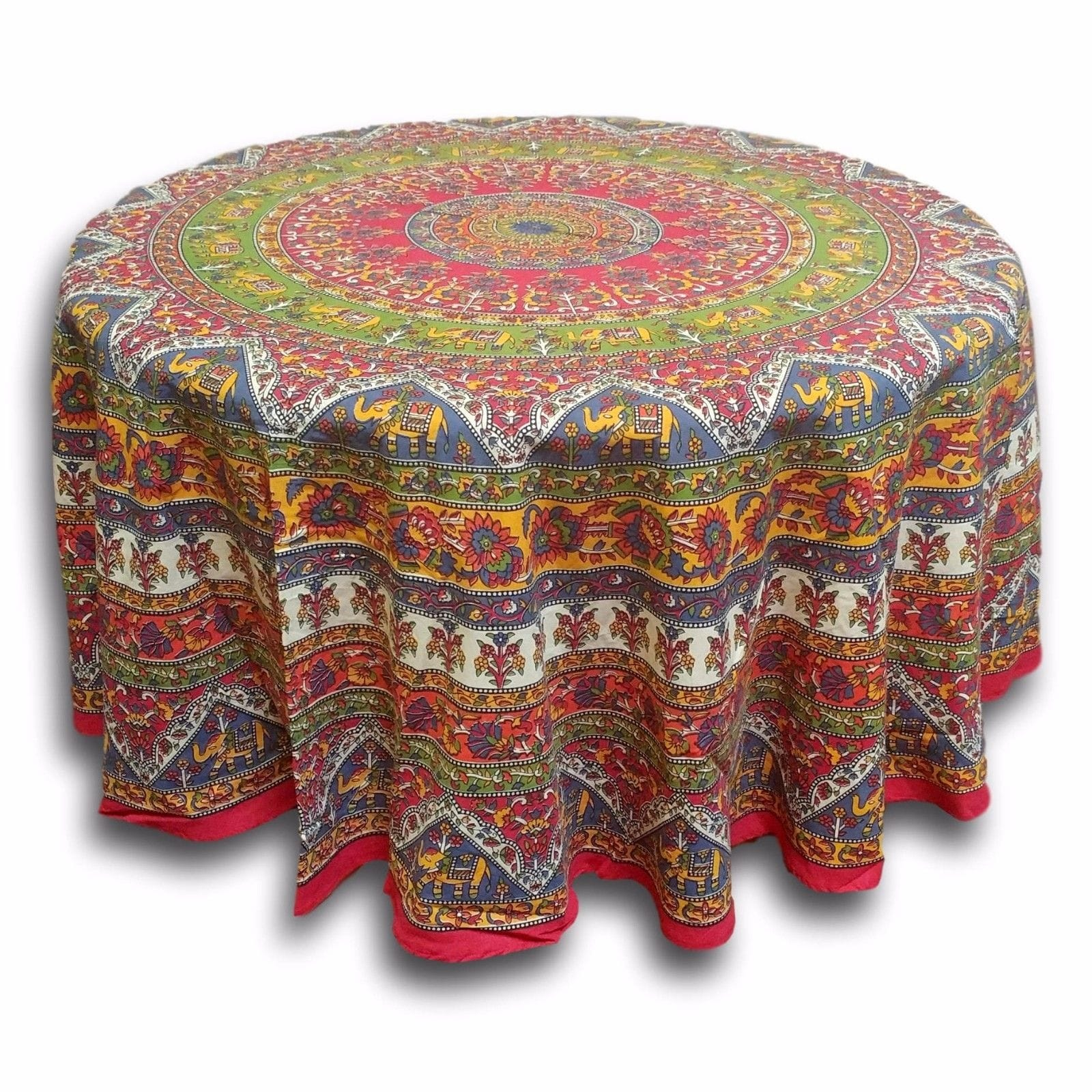 cotton mandala floral elephant printed tablecloths for round handmade and tablecloth available red blue brown two sizes accent table thumbnail tables globe lampshade wedding gift