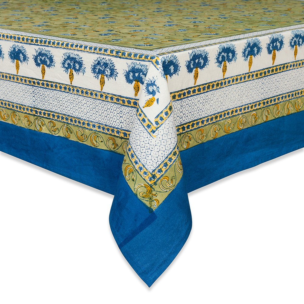 couleur nature bleuet tablecloth inches artistic accents blue green kitchen dining grill master parts small triangle corner table target vanity high end furniture companies