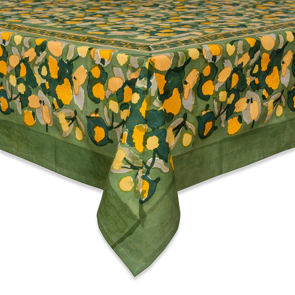 couleur nature fruit design tablecloth inches mzdbbl artistic accents yellow green home kitchen glass and wood lamp tables hammered metal coffee table console ikea top black