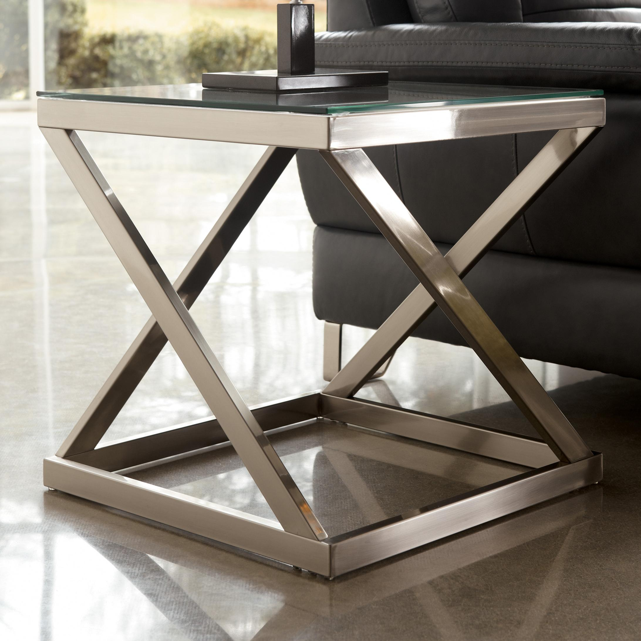 coylin brushed metal square end table with clear tempered glass top products signature design ashley color accent height stacked crystal lamp lightning fixtures tacoma lights high
