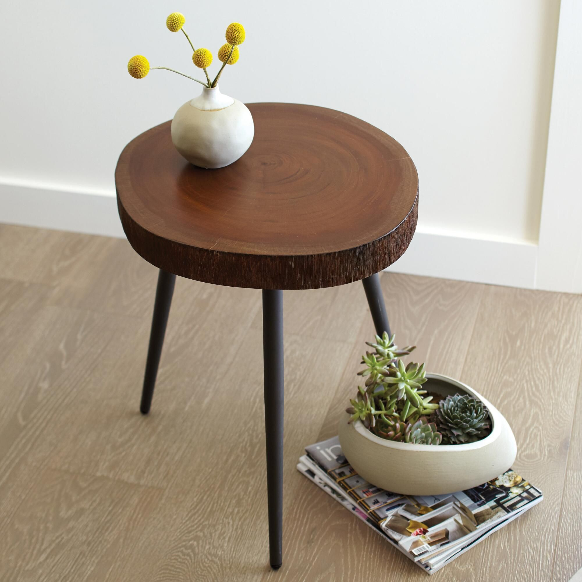 crafted from real slice mahogany wood with accent table inherent variations our long legged end truly one kind extendable modern glass cocktail coral home accessories west elm