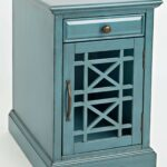 craftsman antique blue power chairside table from jofran coleman angle fretwork accent small coffee legs pier imports chairs corner study desk hand painted grey geometric rug 150x150