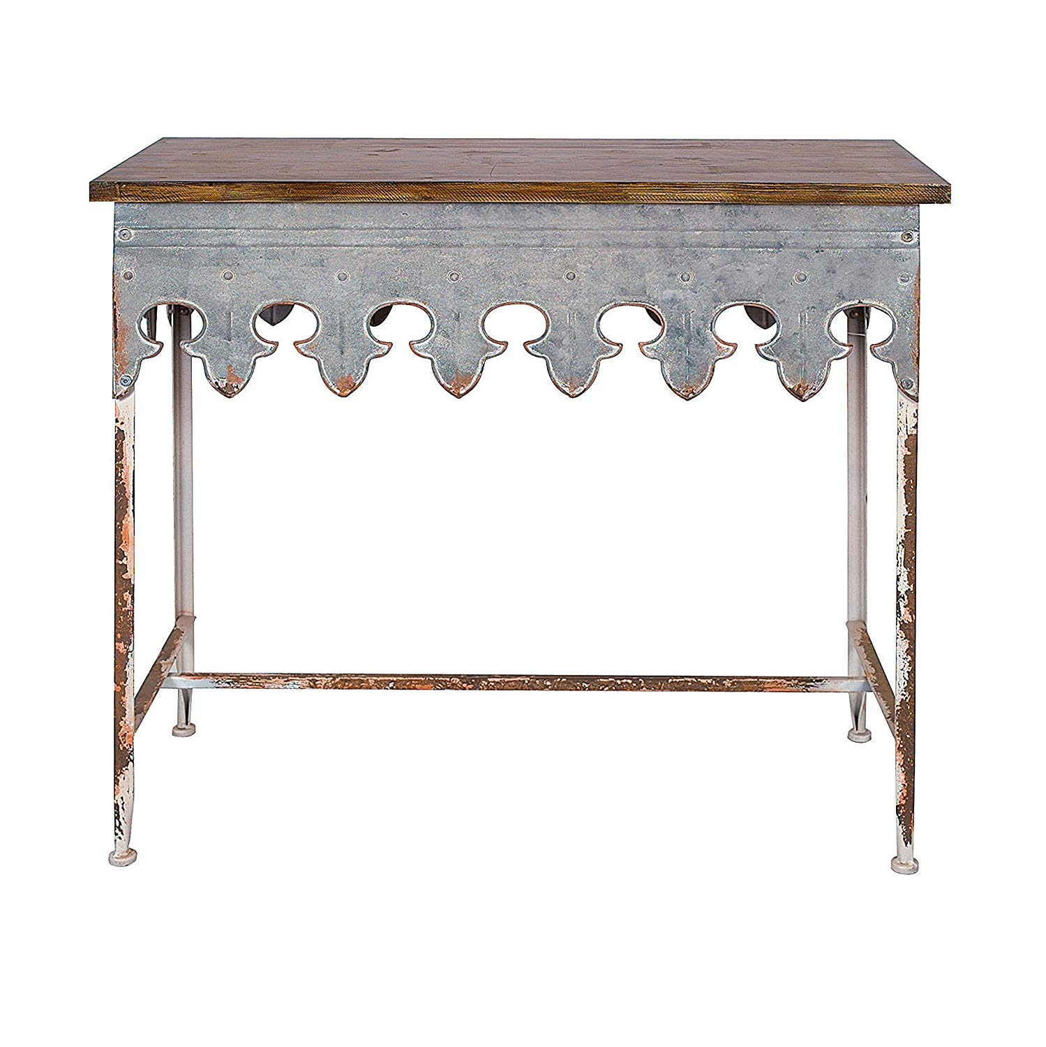 creative metal scalloped edge table with zinc accent finish and wood top kitchen dining astoria collection patio furniture target shoe rack threshold coffee round side cloth