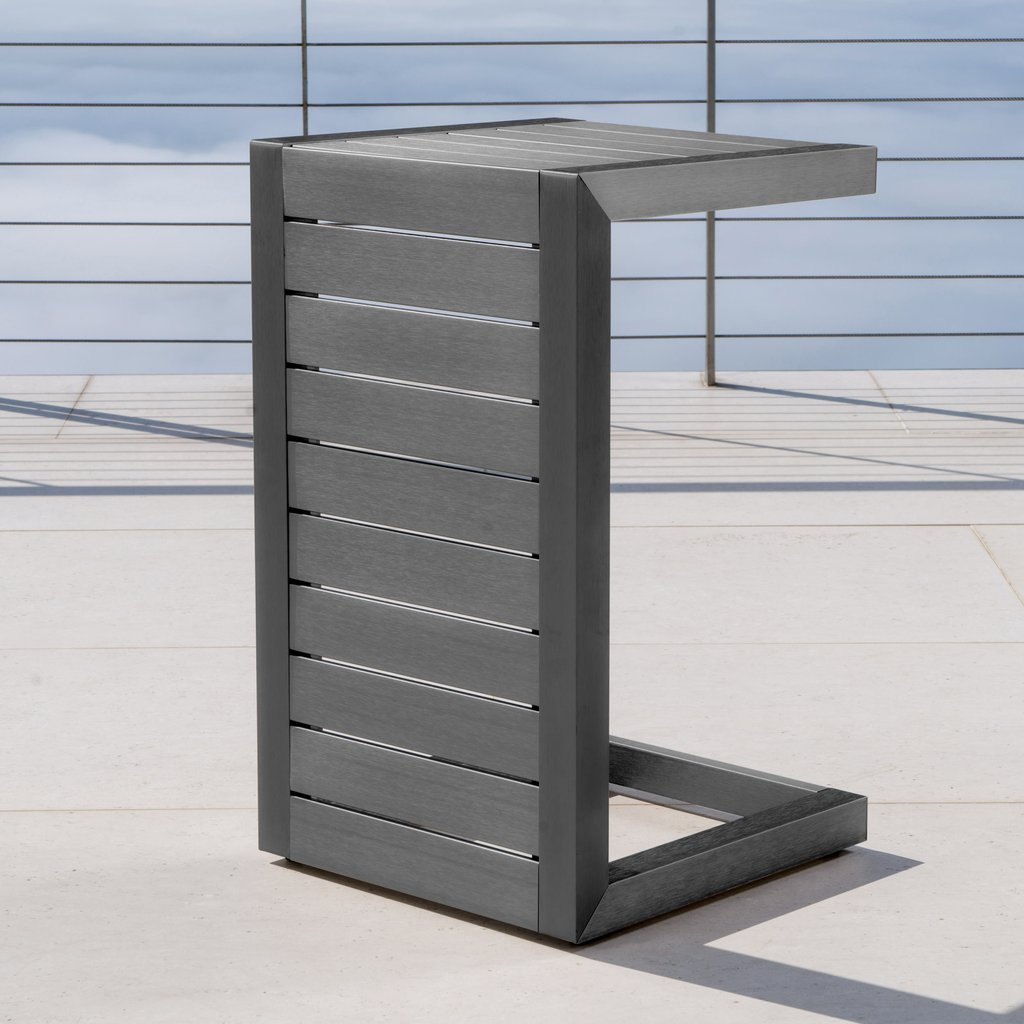 crested bay outdoor gray aluminum shaped side table gdf studio shelby accent chest wall console sun porch furniture with bbq built short sofa uttermost round inexpensive french