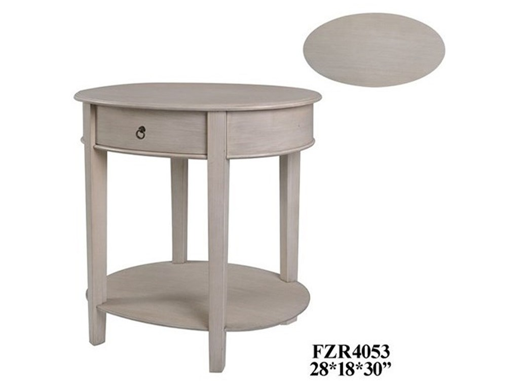 crestview collection accent furniture annabelle oval brushed linen products color metal table with drawers furnitureoval art desk ikea large outdoor wall clock flannel backed