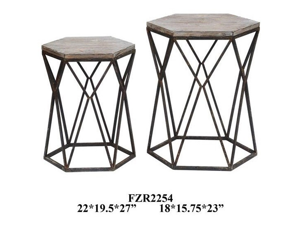 crestview collection accent furniture buena vista rustic metal and products color table furniturebuena wood set tab white chairside side lamps bedroom light shades triangle cool
