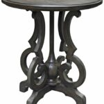 crestview collection kensington burnished oak round gray accent table kitchen dining wood coffee with drawers wrought iron pretty lamps for bedroom real modern pedestal small 150x150
