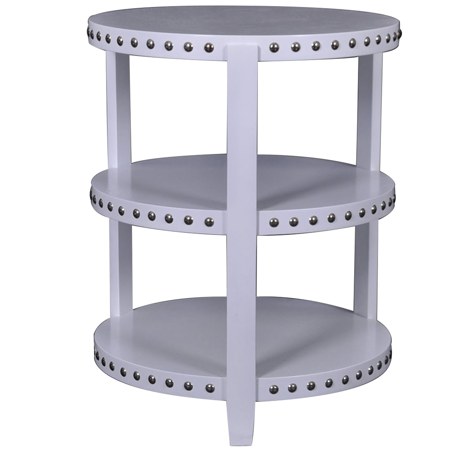 crestview collection tier accent table with chrome cvc nailheads zoom patio dining set bench uma console small glass bedside wicker storage coffee stable target whole furniture