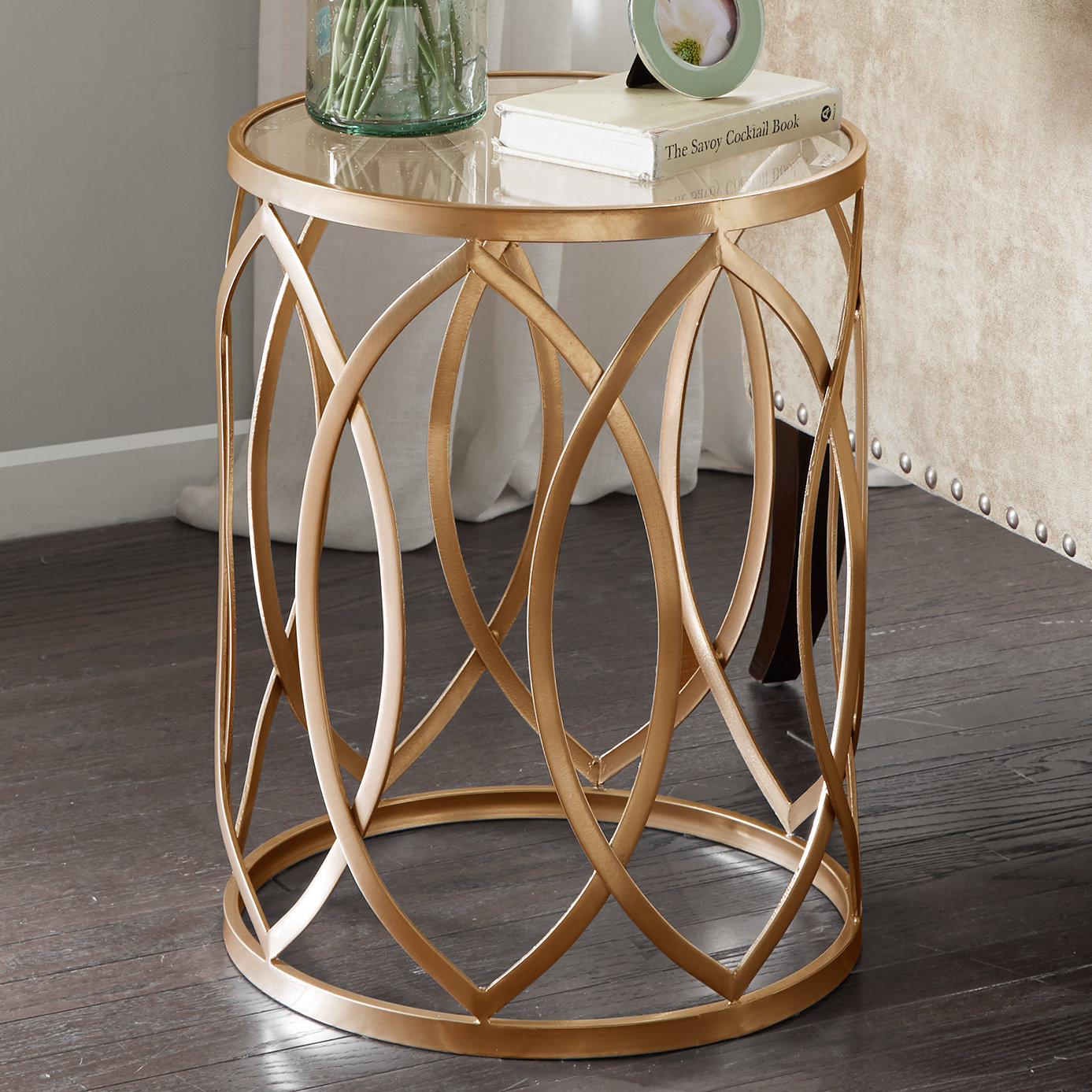 crewkerne metal eyelet end table reviews birch lane accent oval patio bamboo furniture unique dining tables ethan allen buffet hammary half moon console kitchen room shabby chic