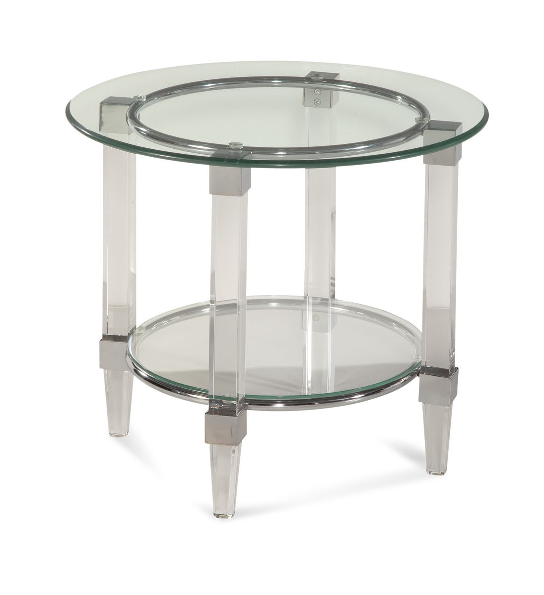 cristal round end table acrylic chrome unfinished accent black shape west elm coffee desk bathroom fittings covers bar height set home wall decor metal pedestal base pottery barn