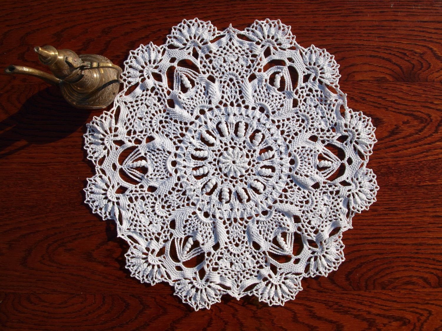 crochet hand made doily inches diameter lace white round victorian style accent table home decor doilies usd navy blue console circle marble coffee trestle dining pottery barn