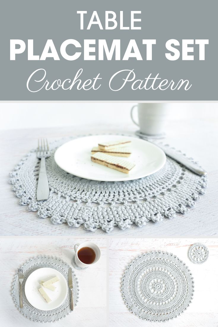 crochet pattern table placemat set the placement accent includes intricate crocheted and coaster these delicate lacy pieces are drawer mirrored bedside ethan allen leather