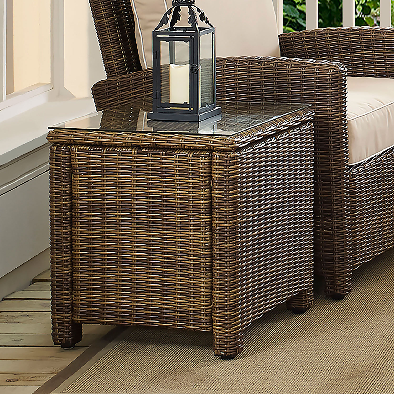 crosley furniture bradenton brown outdoor wicker rectangular side table hover zoom patio bar sets clearance stained glass standing lamp rod iron teak vancouver walnut nest tables
