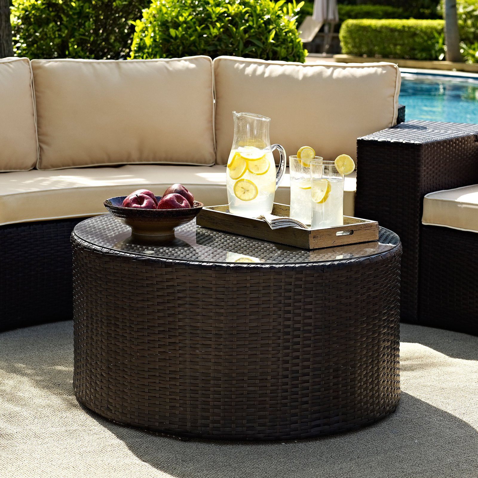 crosley furniture catalina outdoor wicker round glass top coffee accent table mid century modern dresser gallerie beds console and sofa tables dining room chairs silver drum white