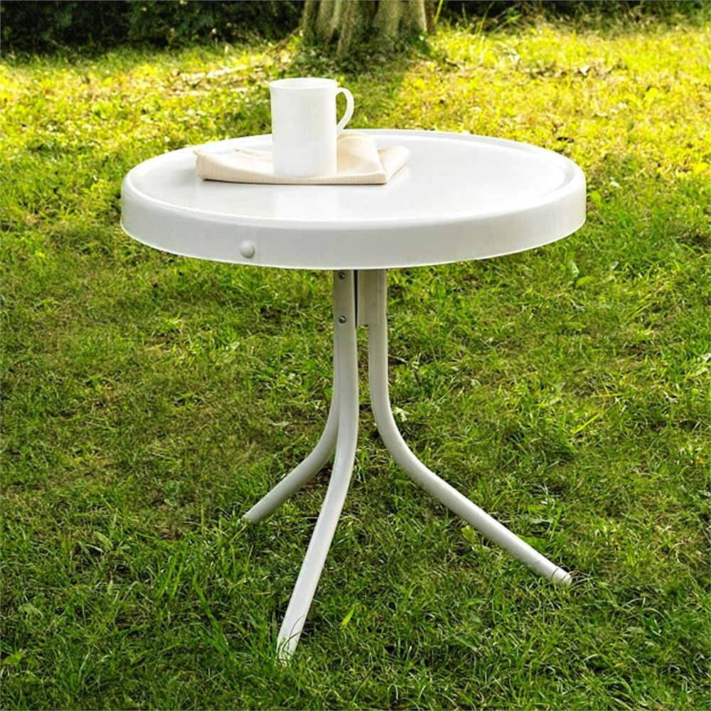 crosley furniture gracie retro metal outdoor side table green ture oak wood small student desk white nesting tables modern living room sofa counter height bathroom legs distressed