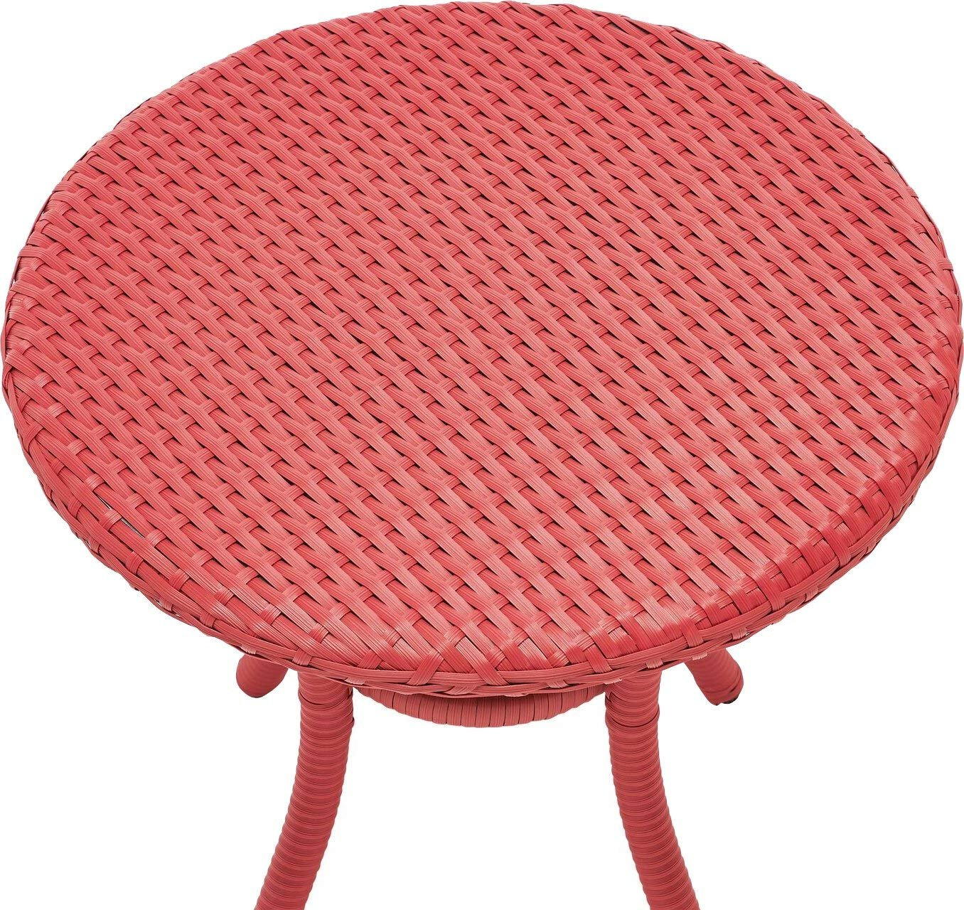 crosley furniture palm harbor outdoor wicker round side table red medium accent bistro and chairs battery powered dining lamp nate berkus towels umbrella stand with wheels hole