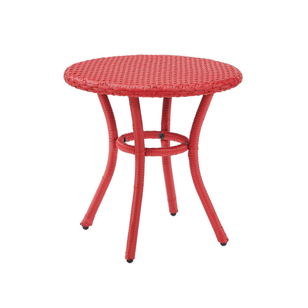 crosley light red wicker outdoor side table palm harbor tables accent diy dining home decor furniture with umbrella hole round silver coffee tray cabinets bunnings fold away desk