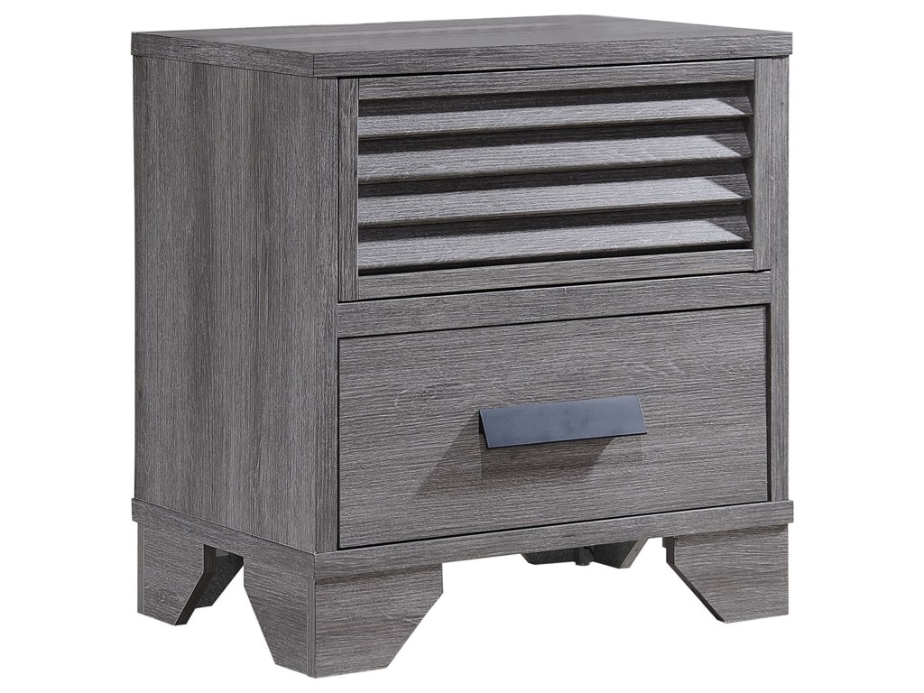 crown mark sarter casual two drawer weathered gray night stand products color accent table sarternight ikea play mission end parquet target west elm chandelier couch dining