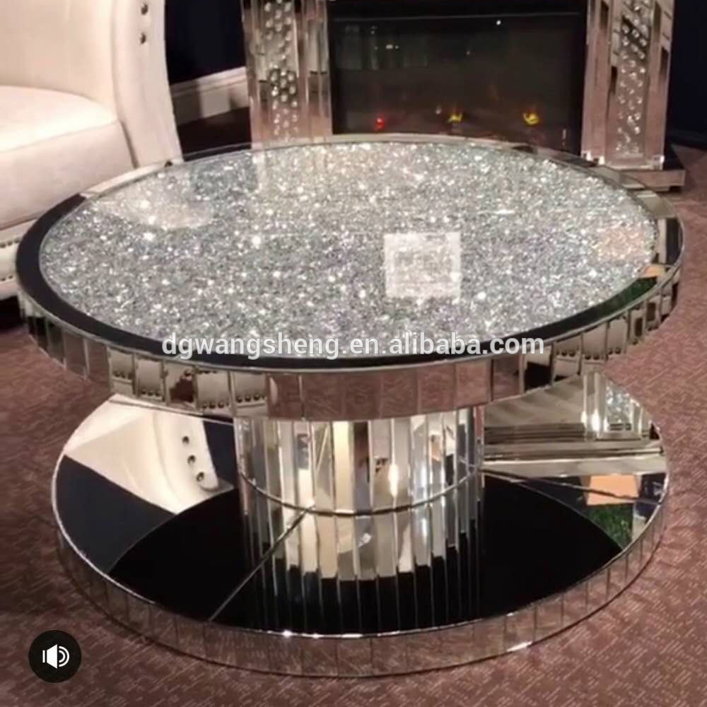 crushed diamond new style round mirrored coffee table view glass accent tables dgwangsheng product details from dongguan wangsheng mirror furniture counter high dining set end
