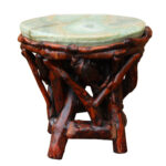 crystal jade stone top bamboo wood stick accent stool table etsy fullxfull jaca tibetan drum kitchen dining sets metal wine rack teak standard height sofa end pineapple umbrella 150x150