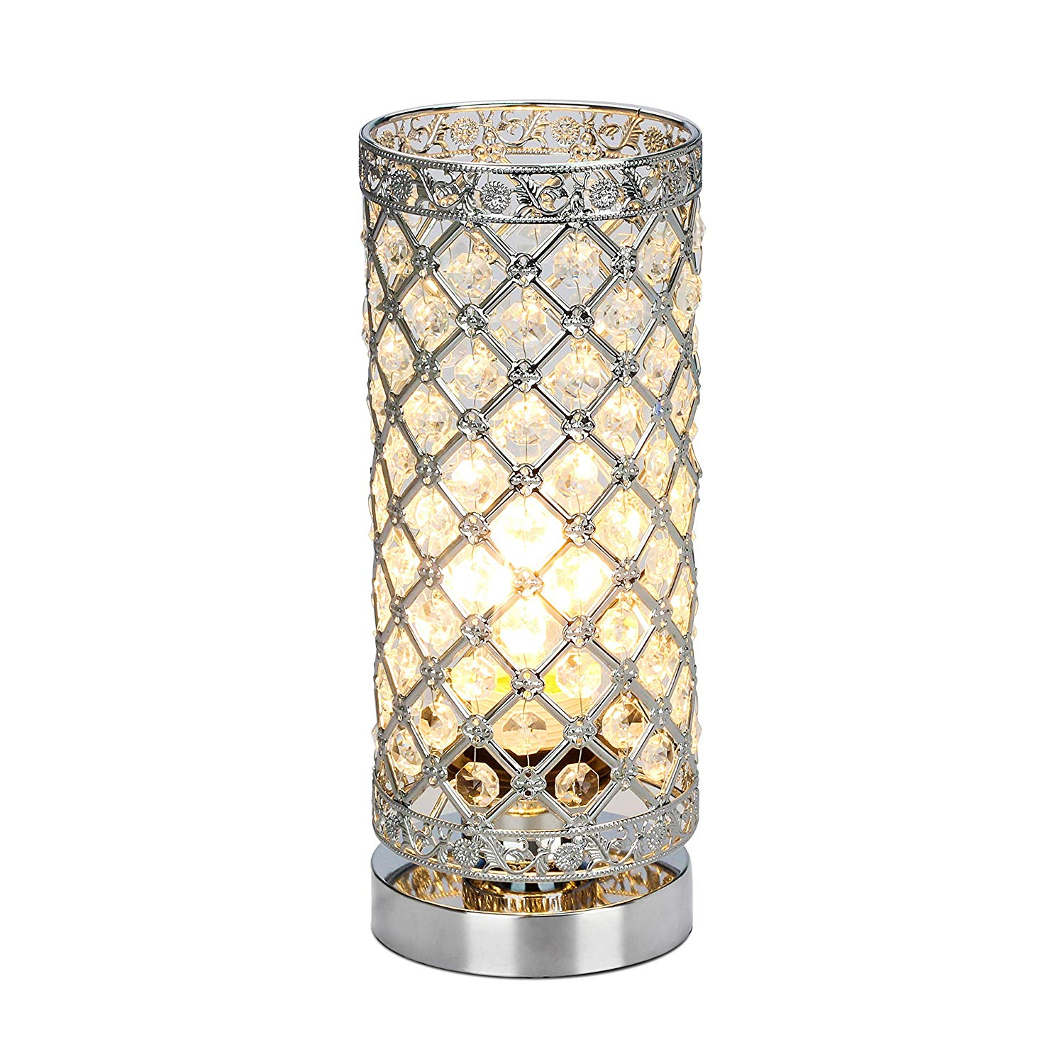 crystal table lamp touch control dimmable accent desk bedside modern lamps light with sliver shade night fixture for living room bedroom glass and brass oval coffee garden chairs
