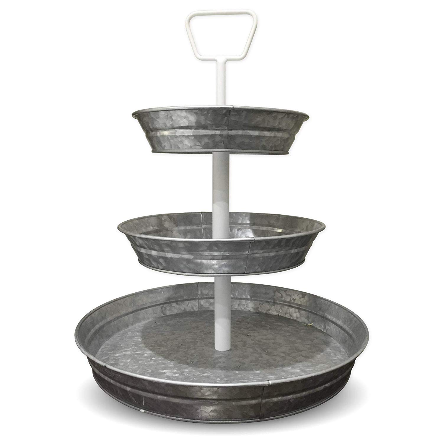 curly willow home accents tier galvanized round metal accent table serving trays with white handle narrow shelf behind couch antique black coffee hobby lobby mirrors carpet