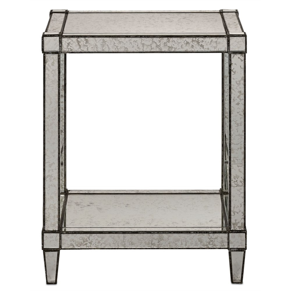 currey monarch accent table painted silver viejo light metal antique mirror glass bedroom side lamps buffet ikea small for patio oval garden pottery barn childrens living room