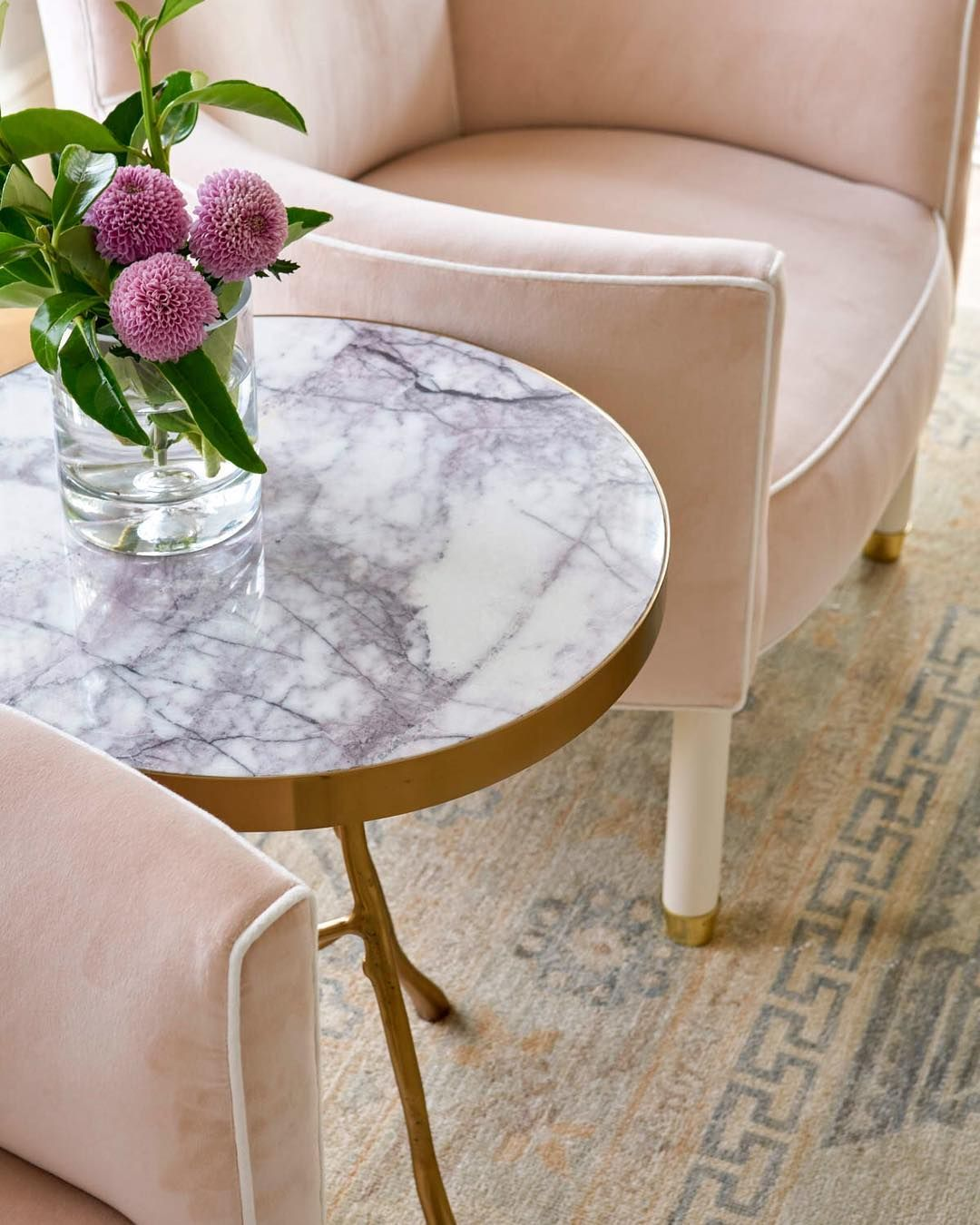 custom blush chairs jenkins interiors marble and brass side pink accent table fresh flowers blue print blueprint target threshold drawer metal garden windham furniture collection