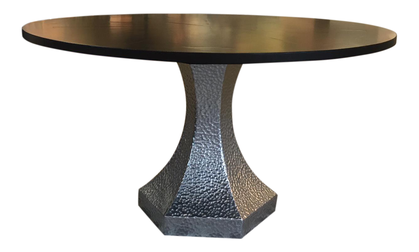 custom dark stained black walnut top dining table and hammered zinc base showroom sample accent chairish chrome legs nautical lamps threshold coffee sofa decor teal accessories