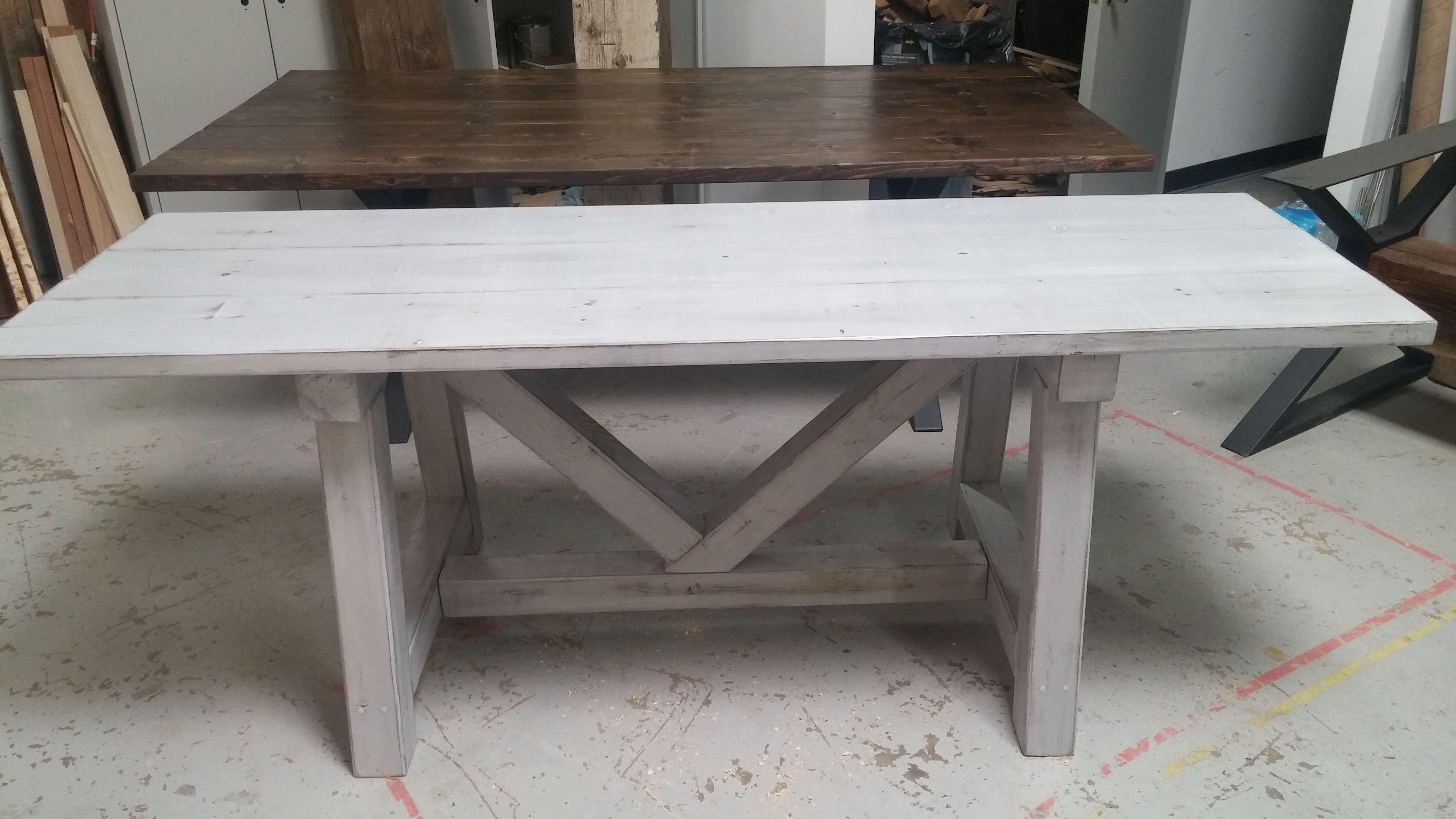 custom distressed grey trestle farmhouse table reclaimed wood rustic accent tables made dining side and patio buffet dale tiffany floor lamp carolina furniture mirrored bedside