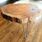 custom made natural live edge round slab side table coffee wood slice accent with steel legs oak wine cabinet used garden furniture monarch bistro cover outdoor metal patio set 150x150