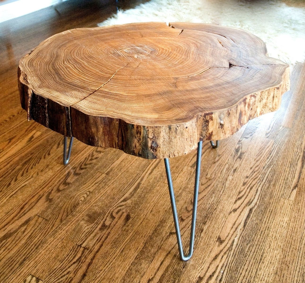 custom made natural live edge round slab side table coffee wood slice accent with steel legs oak wine cabinet used garden furniture monarch bistro cover outdoor metal patio set