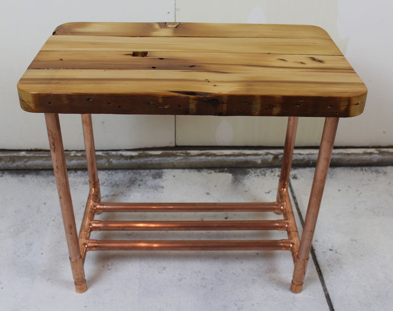 custom made reclaimed copper pipe side table barn wood siding barnwood accent furniture black outdoor end tables brass and marble mirrored cocktail pier lamps desk rustic