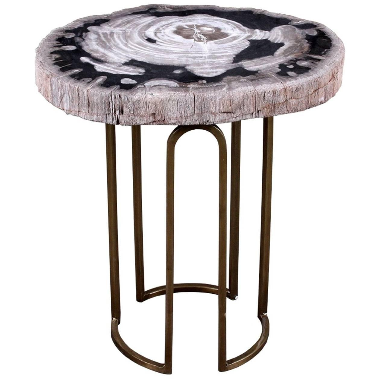 custom petrified wood and brass accent table for img inch end perspex coffee small chairs with arms hampton bay furniture lighting seattle white brown side tray pottery barn