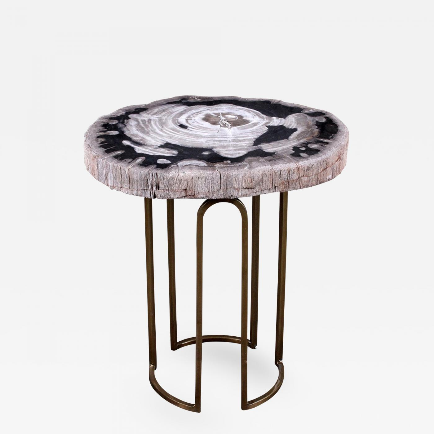 custom petrified wood and brass accent table listings furniture tables side inch end vintage inspired couch wine cabinet black metal lamp trestle lighting seattle perspex coffee