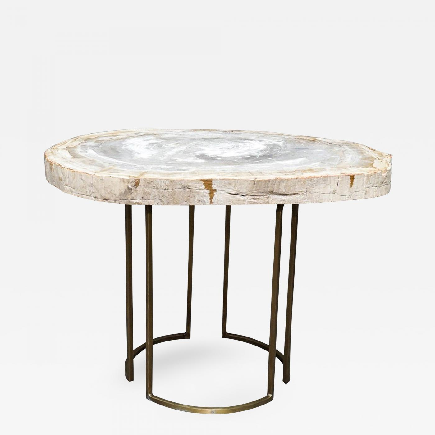 custom petrified wood slab accent table with brass base listings furniture tables side glass console inch runner round folding target narrow mirrored ethan allen nesting end