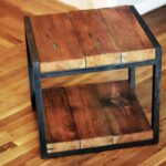 custom reclaimed wood steel side table barreto studios vintage accent made distressed white clermont furniture pink chair slate coffee pine nightstands bedroom moroccan blue old 150x150