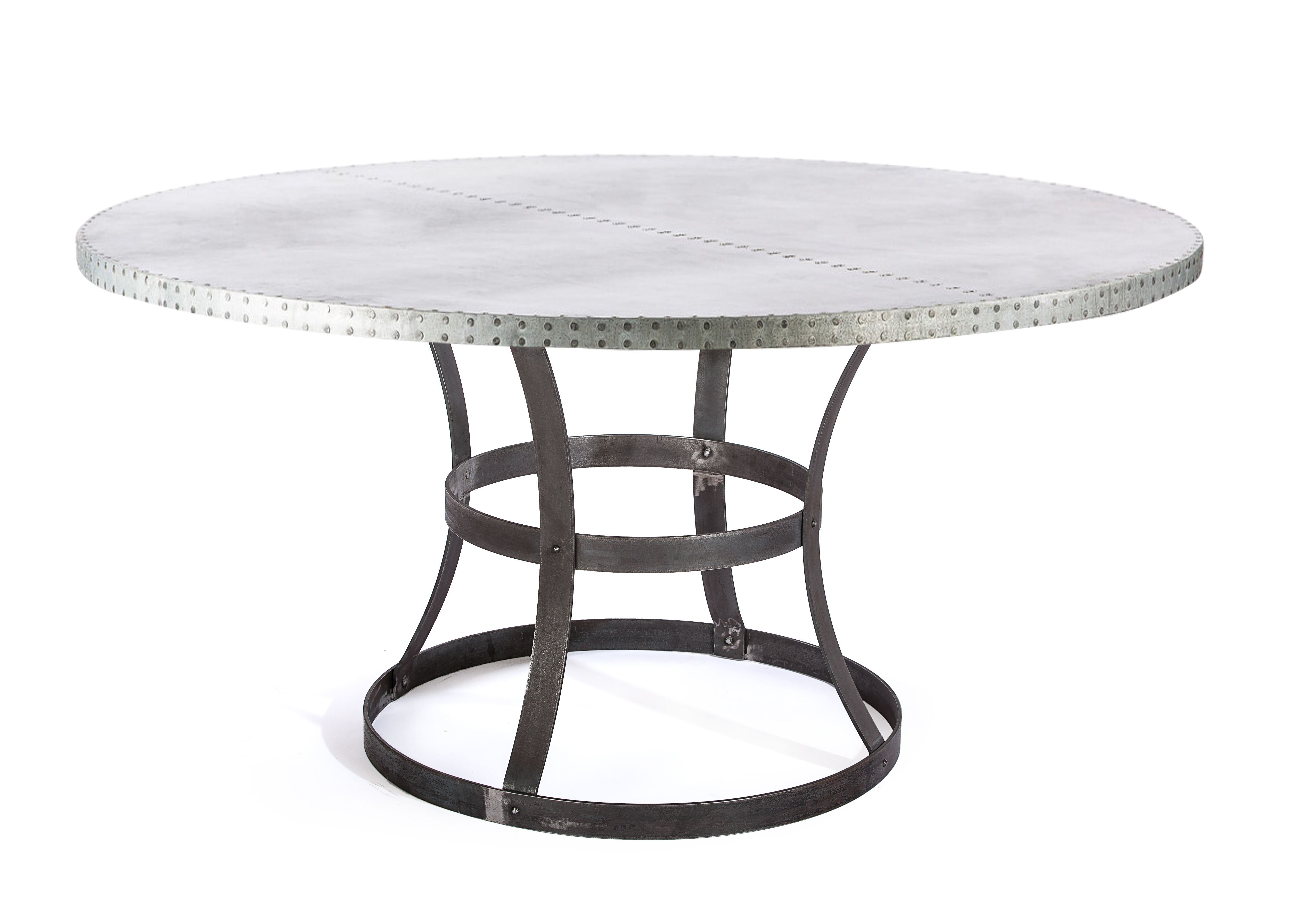 custom zinc table dining madera steel ring round accent made top pottery barn floor lamp replacement parts grey marble concrete unfinished base mid century modern furniture end