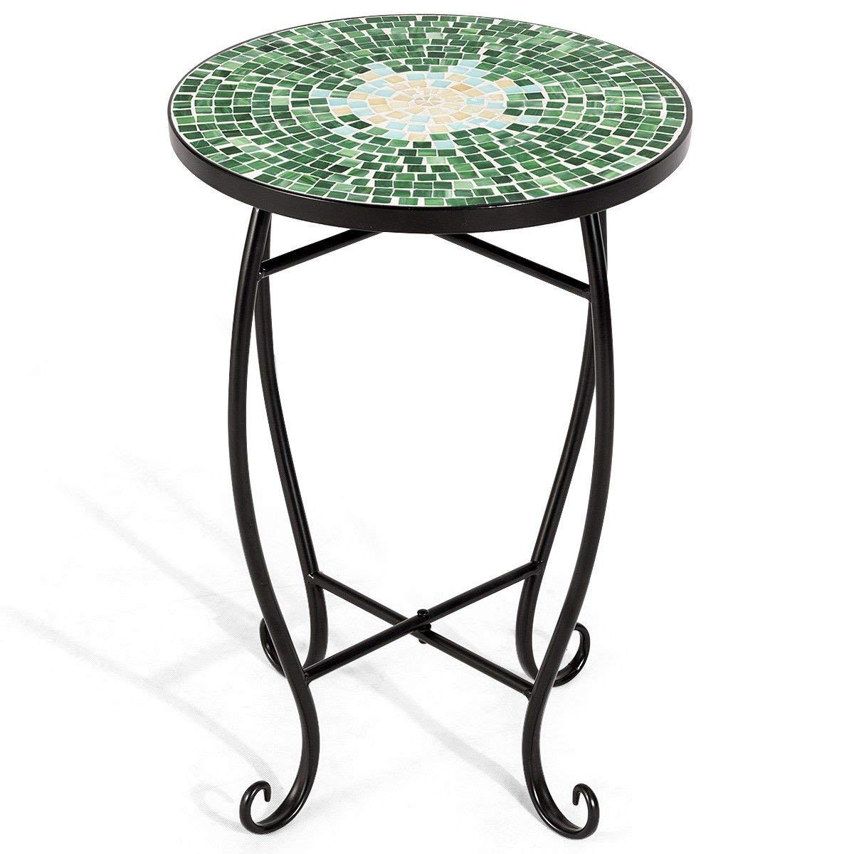 custpromo mosaic accent table metal round side bella green outdoor plant stand cobalt glass top indoor garden patio living room furniture end tables blue trunk pottery barn floor
