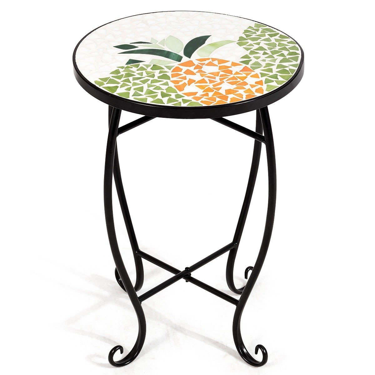 custpromo mosaic accent table metal round side bella green outdoor plant stand cobalt glass top indoor garden patio sweet pineapple kitchen inch furniture legs pottery barn