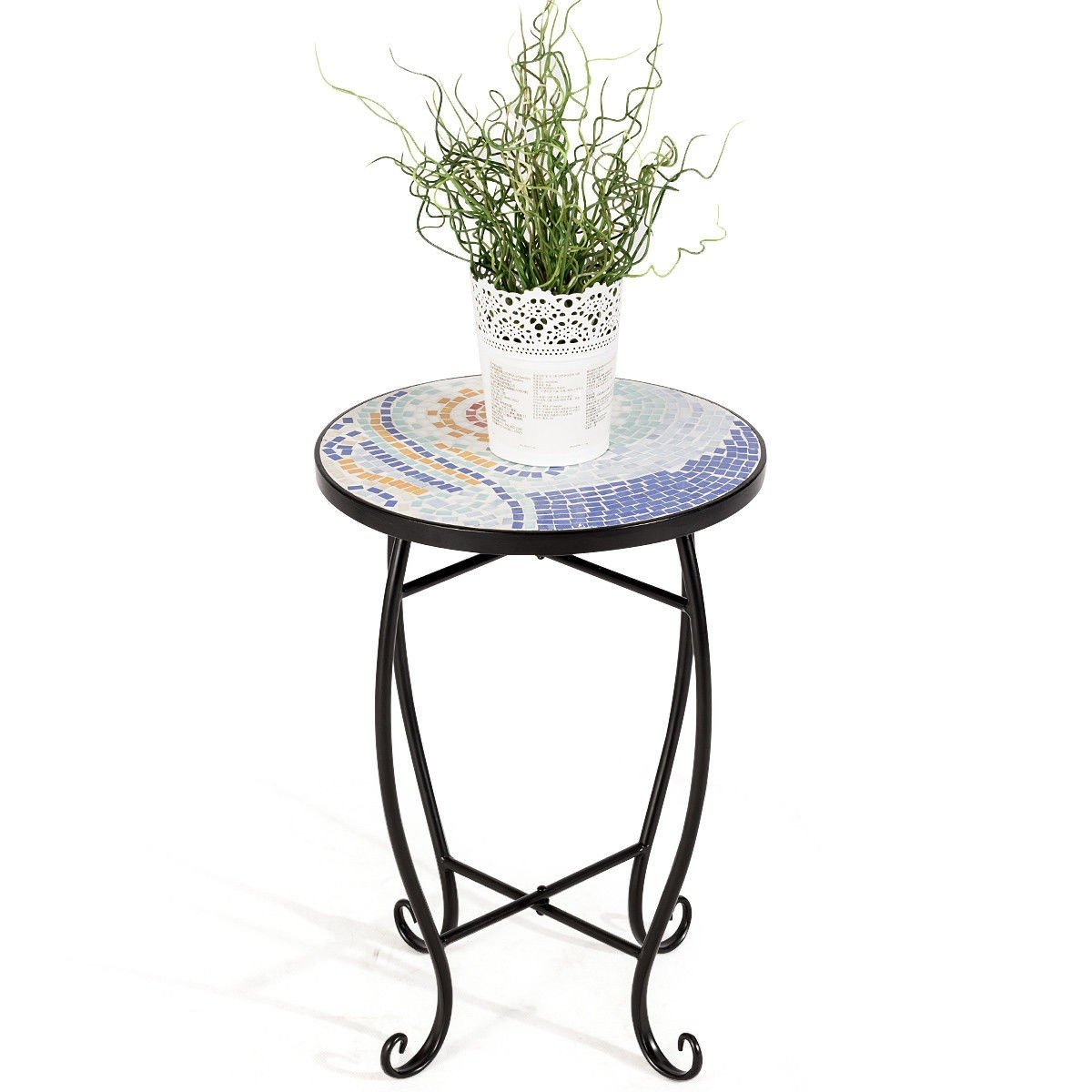 custpromo mosaic accent table metal round side bella green outdoor plant stand with cobalt glass top indoor garden patio ocean wave kitchen small half inexpensive home decor