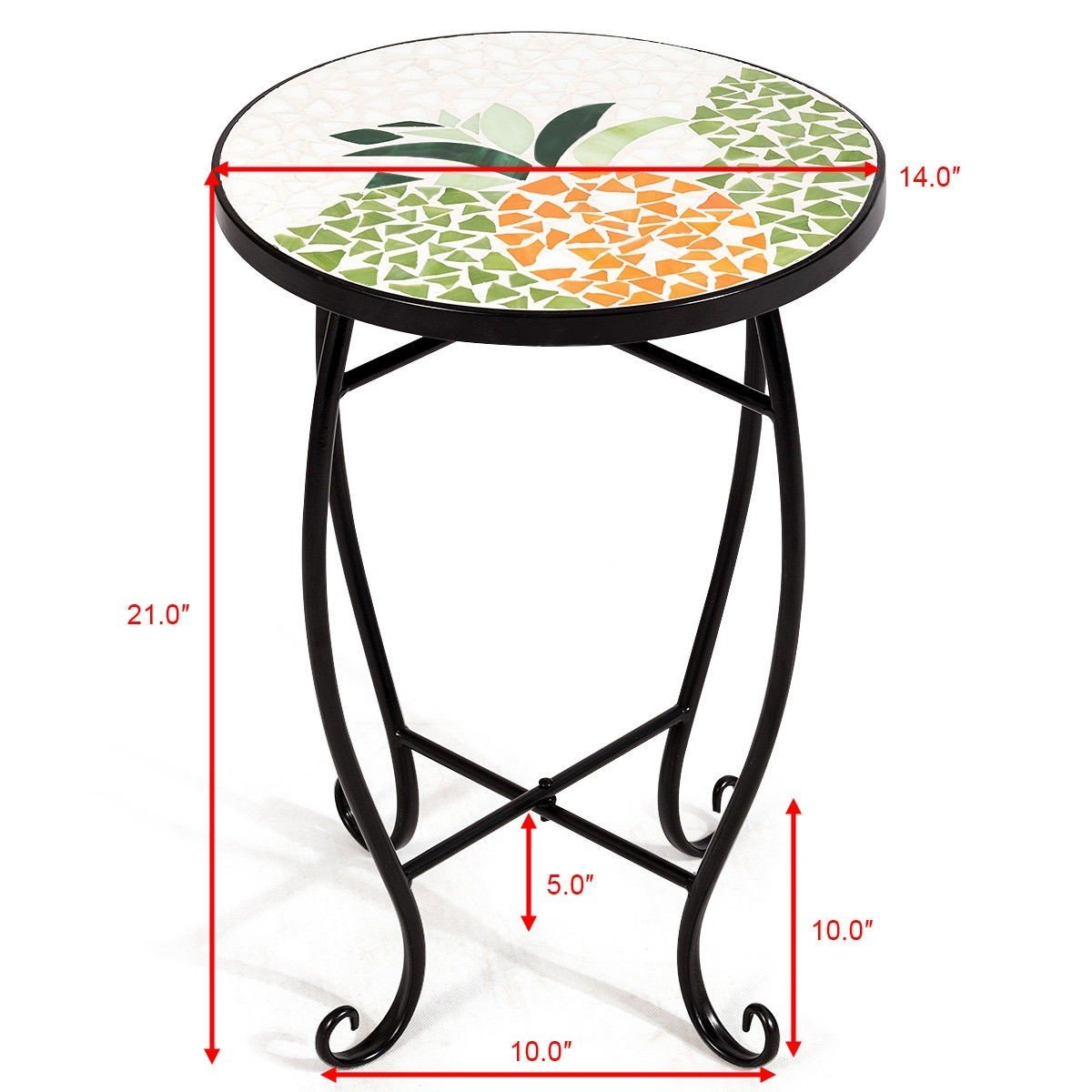 custpromo mosaic accent table metal round side glass plant stand cobalt top indoor outdoor garden patio sweet pineapple kitchen heat resistant cloth sea themed lamps pool