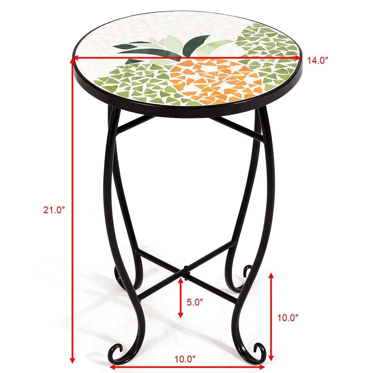 custpromo mosaic accent table metal round side outdoor plant stand cobalt glass top indoor garden patio sweet pineapple kitchen meyda tiffany lamp bases target recliners kirklands