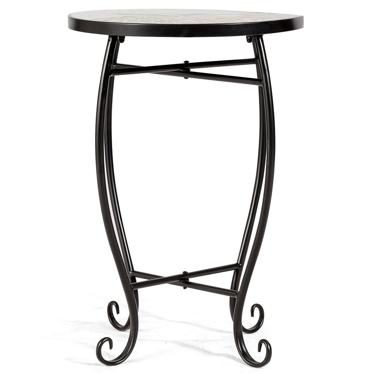 custpromo mosaic accent table metal round side plant stand with cobalt glass top indoor outdoor coastal bedroom ideas alexa home automation dale tiffany stained lamp shade ikea