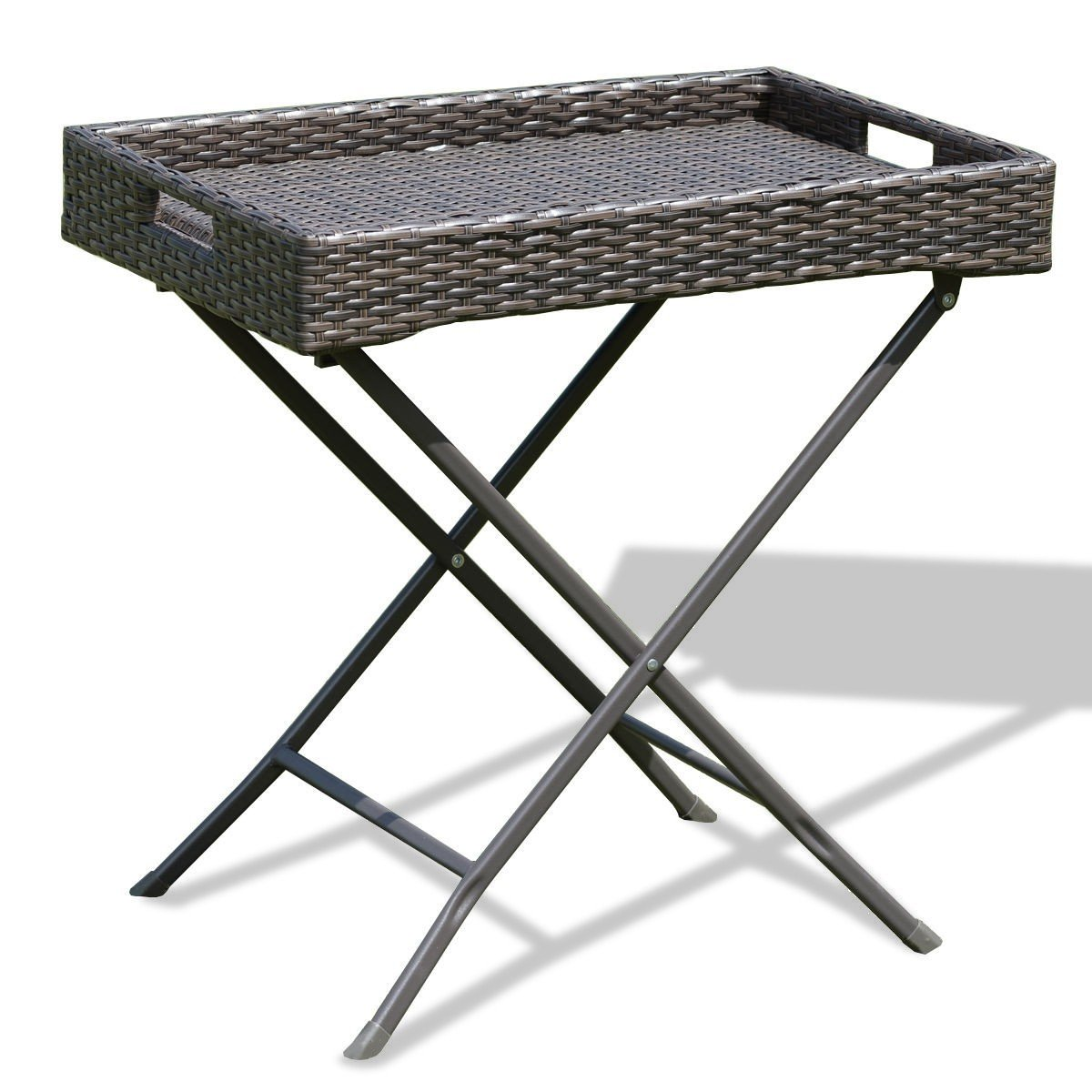 custpromo outdoor patio wicker side table foldable accent brown rattan tray garden ethan allen lamps marble and chrome coffee unique entryway tables butler specialty wall file