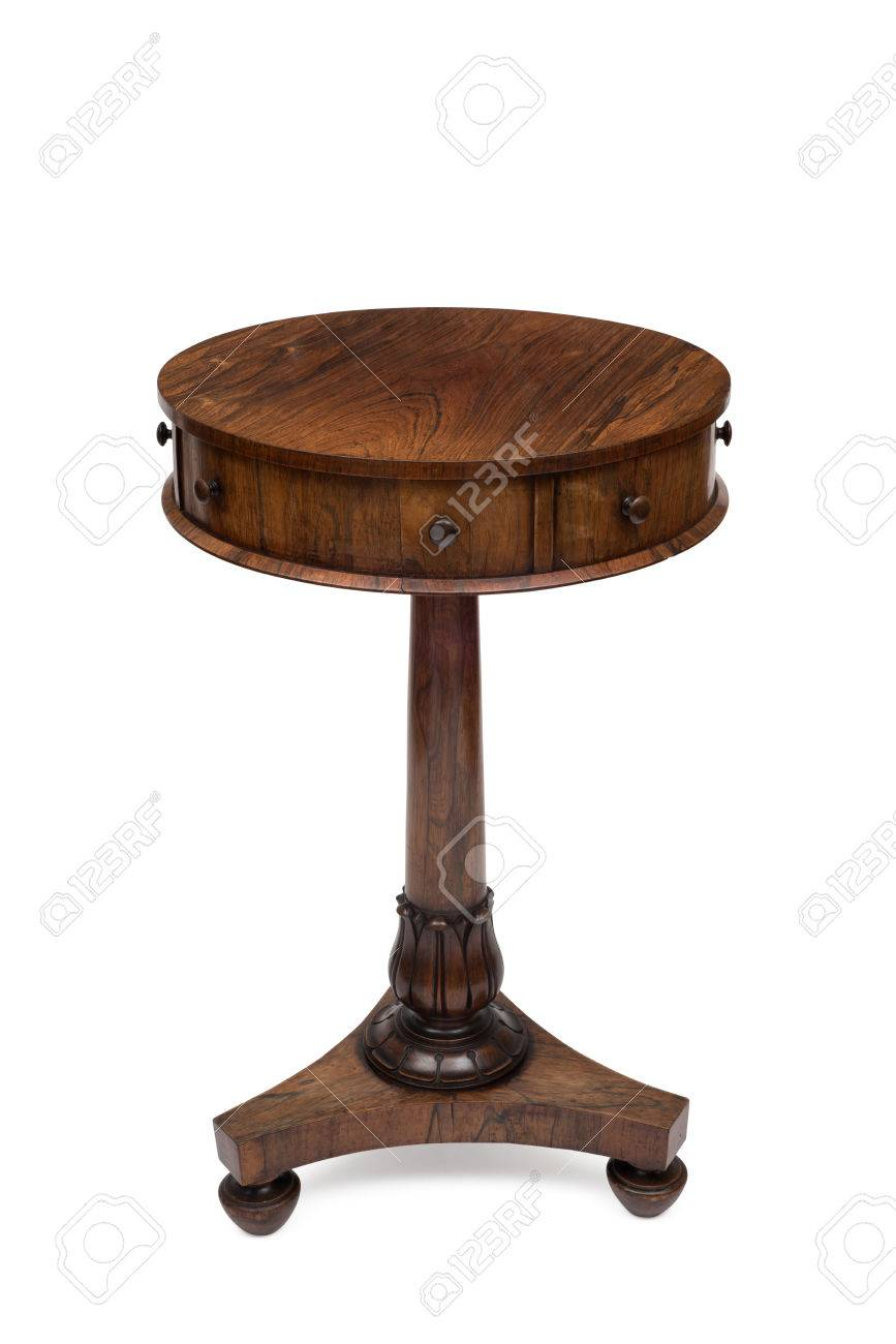 cut out antique wooden round drum end table stock fold camping tall couch platform dog black metal accent ikea base counter height legs high top and chairs traditional style chloe
