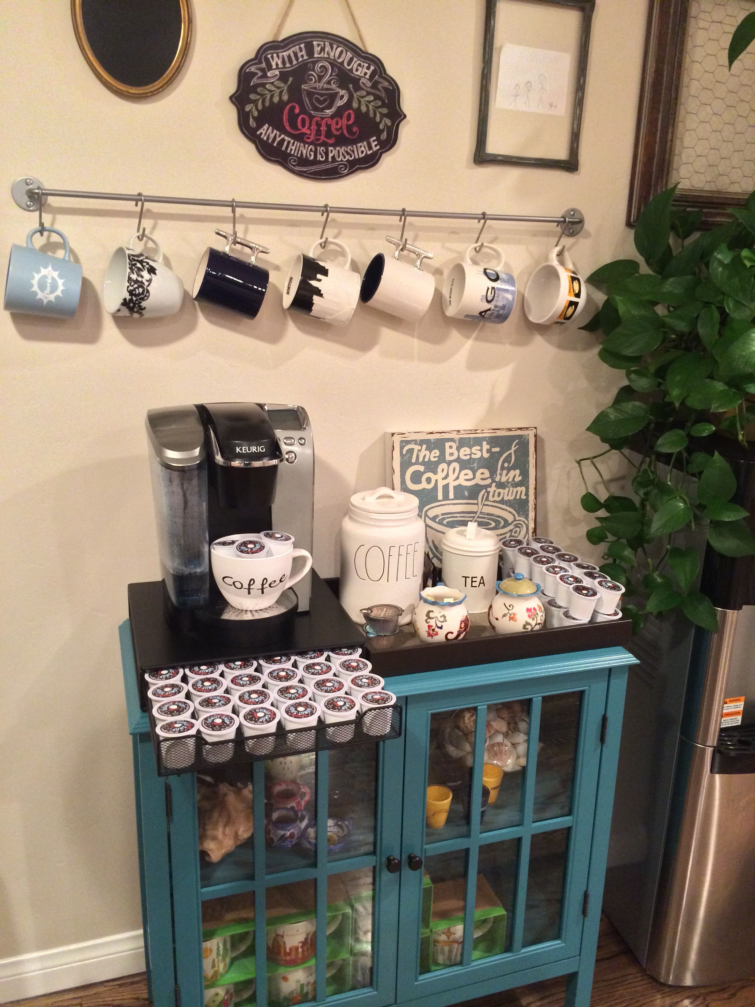 cute idea for any coffee lover fully stocked bar target windham accent table threshold cabinet keurig maker ikea bygel rail silver color round metal legs small red white end with