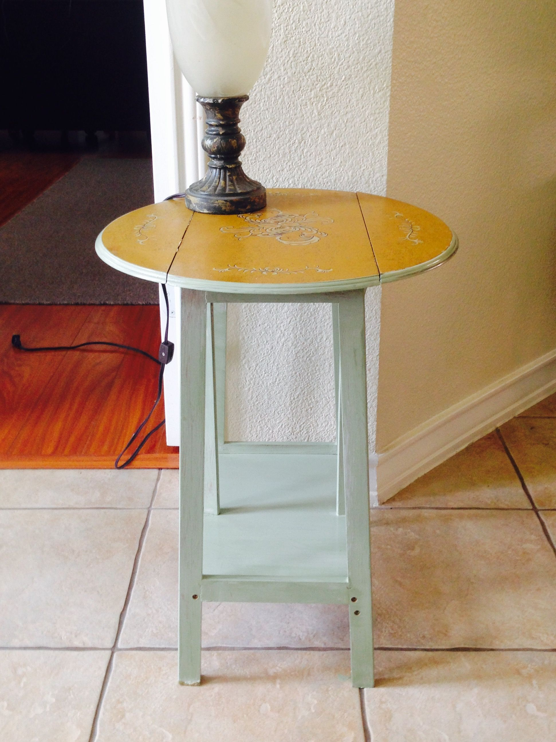 cutest little antique folding accent table stand rustic sage over metal linen beautiful stenciling top plastic outdoor end wood and iron coffee sets homemade home goods furniture