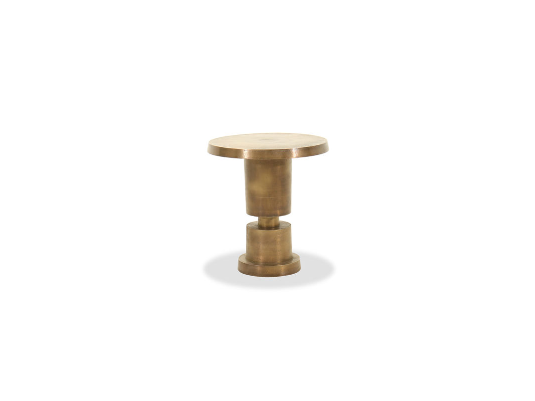 cylindrical base aluminum accent table gold mathis brothers pul modern pedestal distressed brass finish lends vintage vibe this inexpensive legs target seat cushions small round