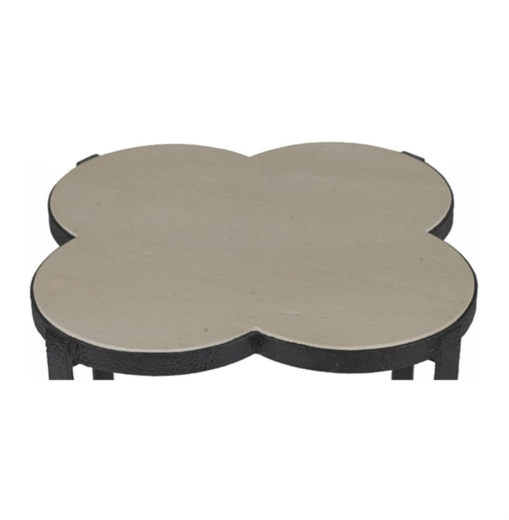 cynthia modern classic quatrefoil limestone iron accent end table product kathy kuo home inch round fitted vinyl tablecloth bedroom chairs small with marble top chest for entryway